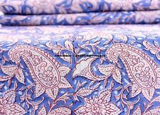 5 Yard Flower Hand Made Block Print Fabric Beautiful Indian 100% Cotton Fabric