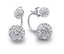 Sterling Silver Double Beads  Swarovski Elements Crystal Stud Earrings Gift F17