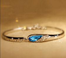 Elegant Women Lady Ocean Blue Crystal Rhinestone Heart Bangle Bracelet Gift New
