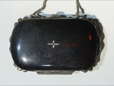 ANTIQUE COIN PURSE, TORTOISE FAUX w/ Silver Inlay, FRANCE BREVETE SGDG, CHAIN. I