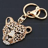 Rhinestone Gold Leopard Keyring Charm Pendant Key Ring Keychain Purse Bag Decor
