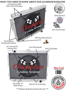 """3 Row Performance Champion Radiator W/ 16"""" Fan for 1974 Dodge Charger V8 Engine"""