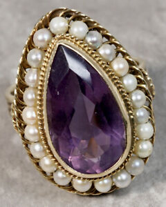 Antique 1930's 14K Yellow Gold Beaded Pearl Amethyst Ring