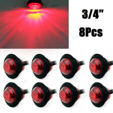 "8Pcs 3/4"" Mini Red Clearance Side Marker Light Truck Trailer Aux Bullet Tail"