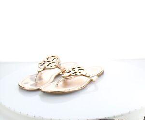 24-40 $198 Women's Sz 7M Tory Burch Miller Leather Logo Flat Sandals