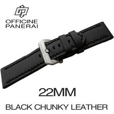 • 22mm Black Chunky Leather Bracelet / Strap With Buckle For Officine Panerai •