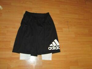 NWOT new ADIDAS Basketball shorts mens size large black white pockets lined
