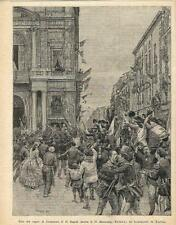Stampa antica GIUSEPPE GARIBALDI entra a Napoli 1895 Old antique print