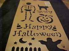 "Halloween Stencil Skeleton Pumpkin Cat Ghost Boo Happy Halloween 8""x18"" New"