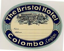 The Bristol Hotel COLOMBO Ceylon Asia * Old Luggage Label Kofferaufkleber