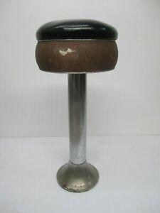 "Vtg Duro Chrome Brown Black Vinyl Seat Bar Stool Soda Shop Ice Cream Parlor 32"""