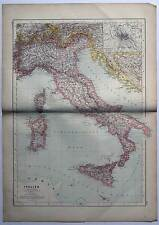 Italien-Italia-Italy - Karte-Map - große Lithographie 1889