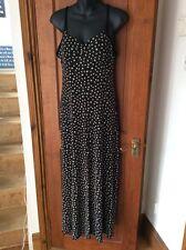 Sexy Black & Cream Daisy Stretch Long Dress Padded Bust One Size