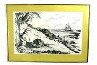 1980 Framed Helmut Brix Landscape And Sailing Ship Pen &  Ink Print
