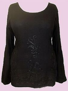 NEW Eaonplus BLACK Tone-on-Tone Embroidered Bell Sleeve Tunic Sizes 16 to 34