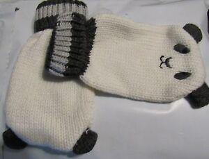 NWT GYMBOREE SNOW PANDA WHITE BOY Thumbless MITTENS  0-12 months