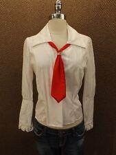 "Atomic Vtg 1960 New NOS White ""Hi Dollie"" Blouse Shirt S Red Tie, Zipper Cuff"