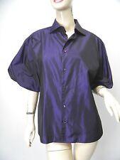 RALPH LAUREN BLACK LABEL Dark Purple Silk Taffeta Puff Sleeve Blouse sz 14