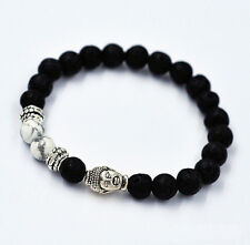 LAVA ROCK AND WHITE HOWLITE STONE SILVER BUDDHA HEAD MEN'S BRACELET 8 MM BEADS
