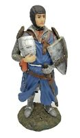 9.5 Inch Tall Medieval Crusader Knight Holding Helmet And Shield Figurine Statue