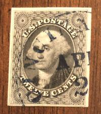 Used, US, Scott's #17 Imperf .12 Cent Washington w/Blue Cincinnati, Ohio Cancel