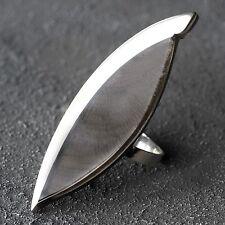 Neu RING CAPIZ MUSCHEL Farbe black/schwarz/silber GRÖßENVERSTELLBAR Fingerring