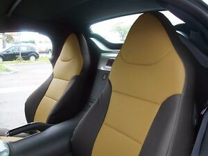 SATURN SKY 2007-2010 BLACK/BEIGE S.LEATHER CUSTOM MADE FRONT SEAT COVER