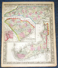 Origial 1860 Mitchell Map of  North & South Carolina, Florida  12.5 X 15.25