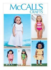 "McCall's Pattern 7612 18"" DOLL CLOTHES TOP AND SHORTS, SWIMSUIT beach outfits"