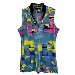 JAMIE SADOCK Womens S Blue Yellow Pink Black 1/4 Snap Top Sleeveless Pleated