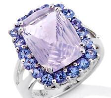 NIB 5.74ct Genuine Lavender Quartz & Tanzanite Gemstone Sterling Silver Ring - 7