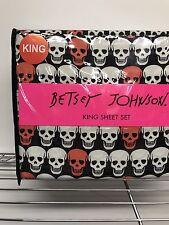 NEW Betsey Johnson King Size Sheet Set Skull Candy Punk Pink Black White Goth