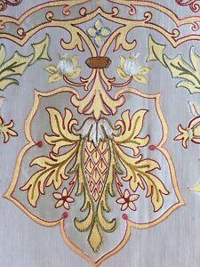 Antique Embroidered Silk Panel Remnant Part Curtain Pelmet Salvage Circa 1920s