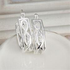 925 Sterling Silver U-Shaped Medium Size See-Through Crystal Hoop Earrings H894