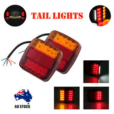 Pair LED Square Tail Light 12v Trailer Truck Boat Number Taillight Marine Lights
