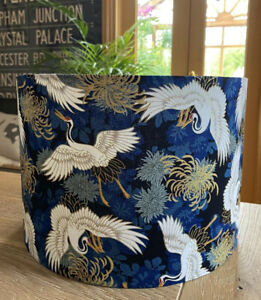NEW MADE TO ORDER LAMPSHADE JAPANESE ORIENTAL BIRDS CRANES NAVY BLUE GOLD FABRIC