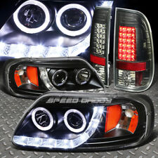 BLACK HALO PROJECTOR LED HEADLIGHT+CORNER+SMOKED TAIL BRAKE LIGHT FOR 97-03 F150