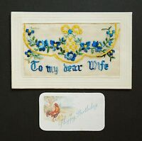 WW1 Silk Postcard Soldier To My Dear Wife Dumfries Street Treorchy Wales