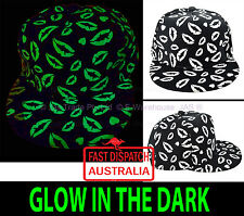 Snapback Baseball Cap Hat GLOW IN THE DARK Valentine's Love Kisses Kissing Lips