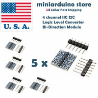 5pcs 4 Channel IIC I2C Logic Level Converter Bi-Directional Module 5V to 3.3V US