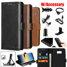 For Samsung Galaxy Phone Leather Flip Wallet Card Holder Case Cover / Accessory