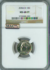 2004-D ROOSEVELT DIME NGC MAC MS68 FT PQ FINEST REGISTRY POP-10 SPOTLESS *