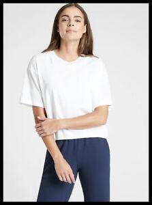 Athleta NWT Women's Zephyr Crop Tee Size XSmall Color White