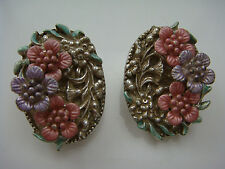 VINTAGE 1980'S 3 LAYERED PINK PURPLE FLOWER SILVER TONE CLIP EARRINGS BY 1928