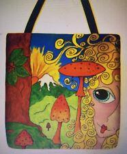ALASKA Hippie Forest Girl Mushrooms Orig Art Design whimsical purse tote 16 x 16