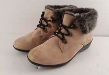 """Cobbit CUDDLERS  Real Suede/""""Fur"""" Trimmed Flat Lace Up Ankle Boots 8W"""