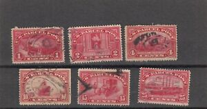 1913 Used 1-2-4-10-15-25ct Red Parcel Post Q1-2/Q4/Q6-7/Q9