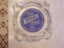 PRATT KANSAS BANK ASHTRAY COOL ADVERTISING GLASS