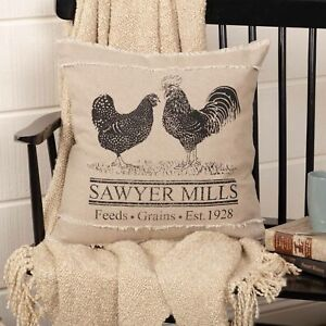 """VHC Brands Farmhouse 18""""x18"""" Poultry Pillow Tan Stenciled Sawyer Bedroom Decor"""