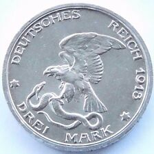 GERMAN Coin 3 Mark States PRUSSIA 1913 A 100 YEARS NAPOLEON 90% Silver WWI NICE